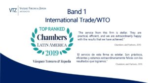 Chambers, VTZ, Best Mexican Law Firm, Top Mexican Layers, Trade, Customs WTO, Band 1