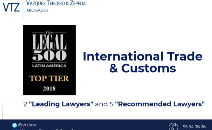 Top Despacho de Abogados en mexico, comercio exerior, Top law Firm in Mexico, Guide Legal 500, Ranking de Abogados
