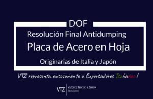 Antidumping, Resolución Final Placa de Acero Italia y Japón, Abogados Comercio Exterior