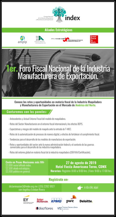Foro Fiscal, Información del Evento de INDEX NACIONAL, IMMEX