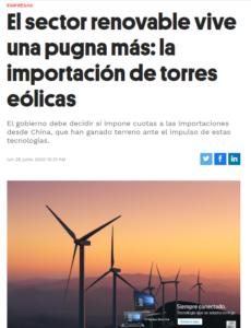 Expansión, Sección Empresas, El sector renovable vive una pugna más: la importación de torres eólicas