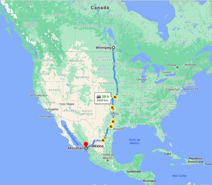 Corredor TMEC, conexión Mazatlán, Sinaloa con Winnipeg, Canadá, cruzando los EE.UU., inversión privada